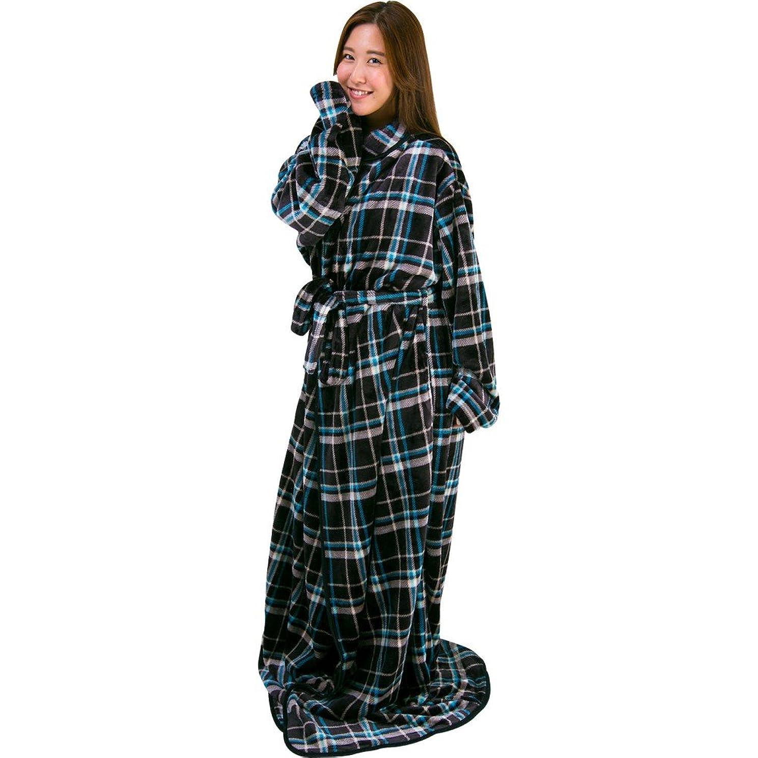 ずるい社交的エミュレートするアイリスプラザ 毛布 着る毛布 180cm丈 ルームウェア フランネルマイクロファイバー とろけるような肌触り 静電気防止 洗える ブラック×ブルー