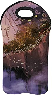 Fantasy 2 Bottle Wine Bag,Old House over the Cliffs on High Pink Sky Dreamy World Magical Foggy Town Image for Home,9.52