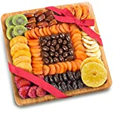 Dried Fruit and Chocolate Nuts on Bamboo Cutting Board Serving Tray