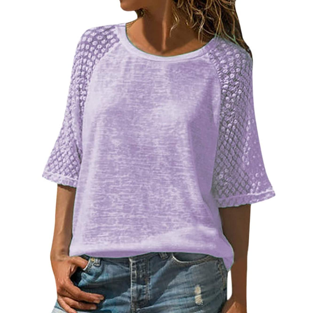 NIKAIRALEY T-Shirt Women's Round Neck Mesh Lace Stitching 3/4 Sleeve Cropped Blouse Shirts Summer Loose Casual Solid Top Tees