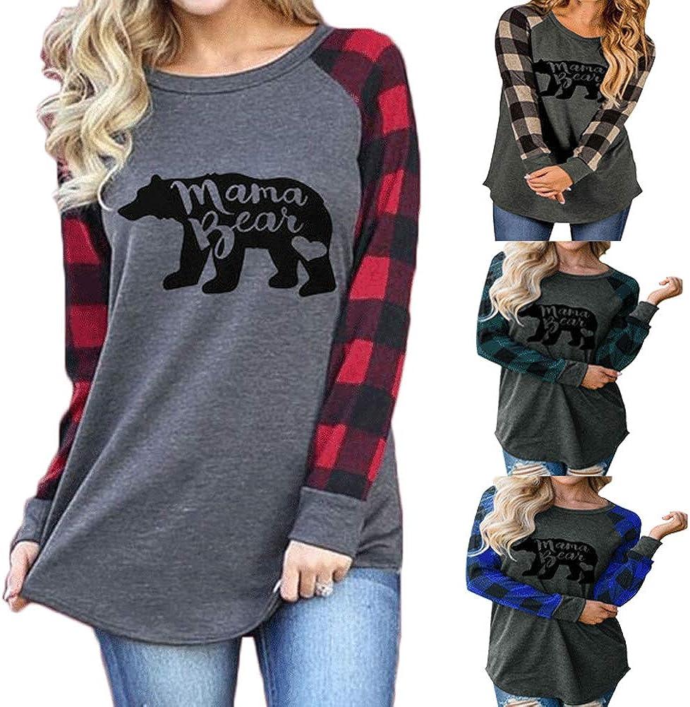 S.Charma Womens Mama Bear Printing Long Sleeve Crewneck T-Shirt Casual Sweatshirt Tunic Tops
