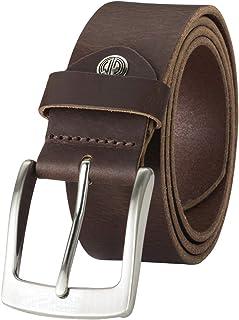 LINDENMANN Mens Leather Belt/Mens Belt, full grain leather belt, buffalo leather 4mm, dark brown