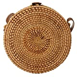 Round Rattan Bags, Handmade Bali Ata Straw Woven Circle Crossbody Handag for Women with Shoulder Leather Strap