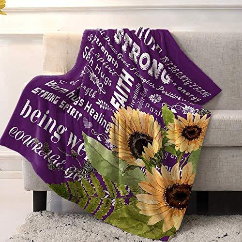 XZDPPTBLN Flannel Blanket Purple Yellow Sunflower Fleece Print Blankets Bed Blanket Soft Throw Blanket Lightweight Cozy Blanket for All Season 53x59 inch/ 130cm x 150cm