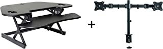 """Rocelco 46"""" Height Adjustable Corner Standing Desk Converter with Dual Monitor Arm Bundle   Quick Sit Stand Up Computer Workstation Riser   Extra Large Keyboard Tray   Black (R CADRB-46-DM2)"""