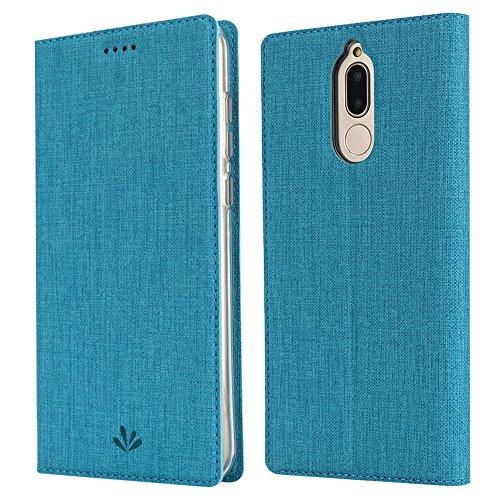Feitenn Huawei Mate 10 lite Hülle, dünne Premium PU Leder Flip Handy Schutzhülle | TPU-Stoßstange, Kartenschlitz, Kameraschutz- und Standfunktion Brieftasche Etui (Blau)