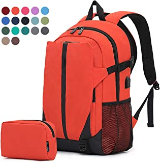 Travel Laptop Business Backpack Anti Theft College Computer Bagpack Keyhole zipper Design, Gifts for Men & Women Fits 15.6 Inch Notebook with USB Charging Port Bonus a Small pencil Case, Orange
