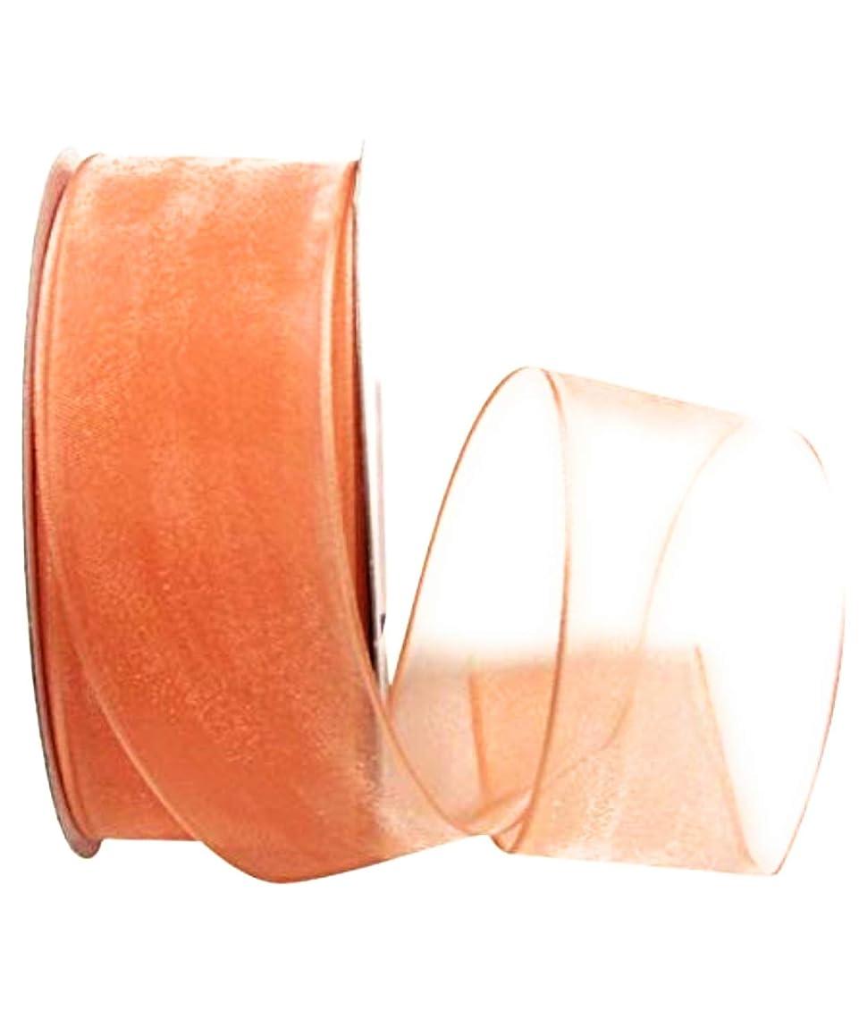 "Craig Bachman 1.5"" Peach Sheer Wired Organza Ribbon 50 Yards"