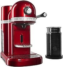 KitchenAid KES0504CA Candy Apple Red Aeroccino Milk Frother Nespresso Espresso Maker, 1.3 L,