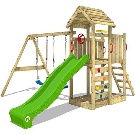 WICKEY Parco giochi in legno MultiFlyer tetto in legno, Giochi da giardino con altalena e scivolo mela verde, Casetta da gioco per l'arrampicata con sabbiera e scala di risalita per bambini