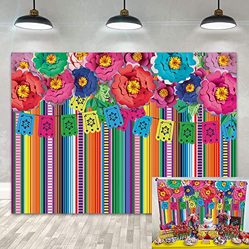 DANIU Fondo de fiesta mexicana para fotografía Cinco De Mayo Carnaval Festival de Cumpleaños Decoración de Fondo Banderas Coloridas, Banner Floral para Fotomatón Suministros (2,1 x 1,5 m)