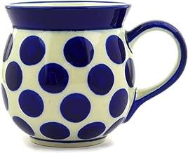 Polish Pottery Coffee Mug Bubble 16 oz Bold Blue Dots