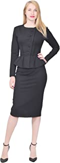 Marycrafts Women's Formal Office Business Shirt Jacket Skirt Suit