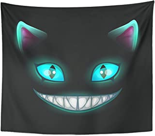 Emvency Tapestry Blue Smile Fantasy Scary Smiling Cat Face on Cheshire Home Decor Wall Hanging for Living Room Bedroom Dorm 50x60 Inches