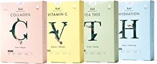 Rael Beauty Face Mask Sheets, Variety Pack, Gift Set, 20 Masks Total (5 Hydro Lock/Hydration Masks, 5 Vita Bright/Vitamin C Masks, 5 Youth Island/Collagen Masks, 5 Fresh Foward/Tea Tree Masks)