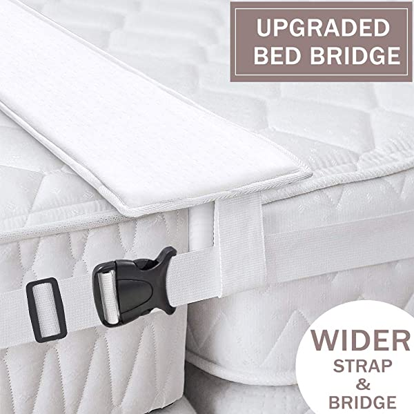 Ottolives Bed Bridge Twin To King Converter Kit Mattress Extender Set To Fill In Gap Memory Foam Filler Pad And Connector Strap For Guests Stayovers Family Gatherings Storage Bag Included