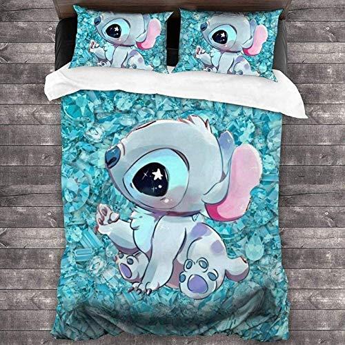 QWAS Stitch - Juego de ropa de cama infantil (3 piezas, 100% microfibra (A1, 135 x 200 cm + 50 x 75 cm x 2)