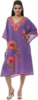 Odishabazaar Kashmiri Embroidered Womens Beachwear Cover up Swimsuit Swimwear Dress Caftan Purple