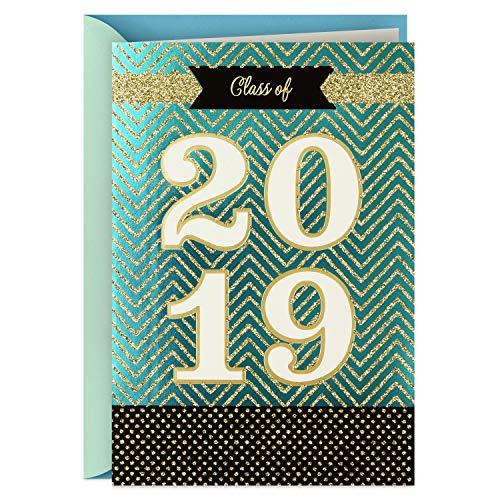 Hallmark Class of 2019 Graduation Card (Gold Glitter Congratulations)