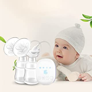 Double Electric Breast Feeding Pumps Pain Free Strong Suction Power Breastfeeding Pump with 4 Modes & 16 Levels, Quiet Rec...