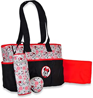 Disney Minnie Mouse Dotted Panel Tote 4-Piece Diaper Bag - red, one Size