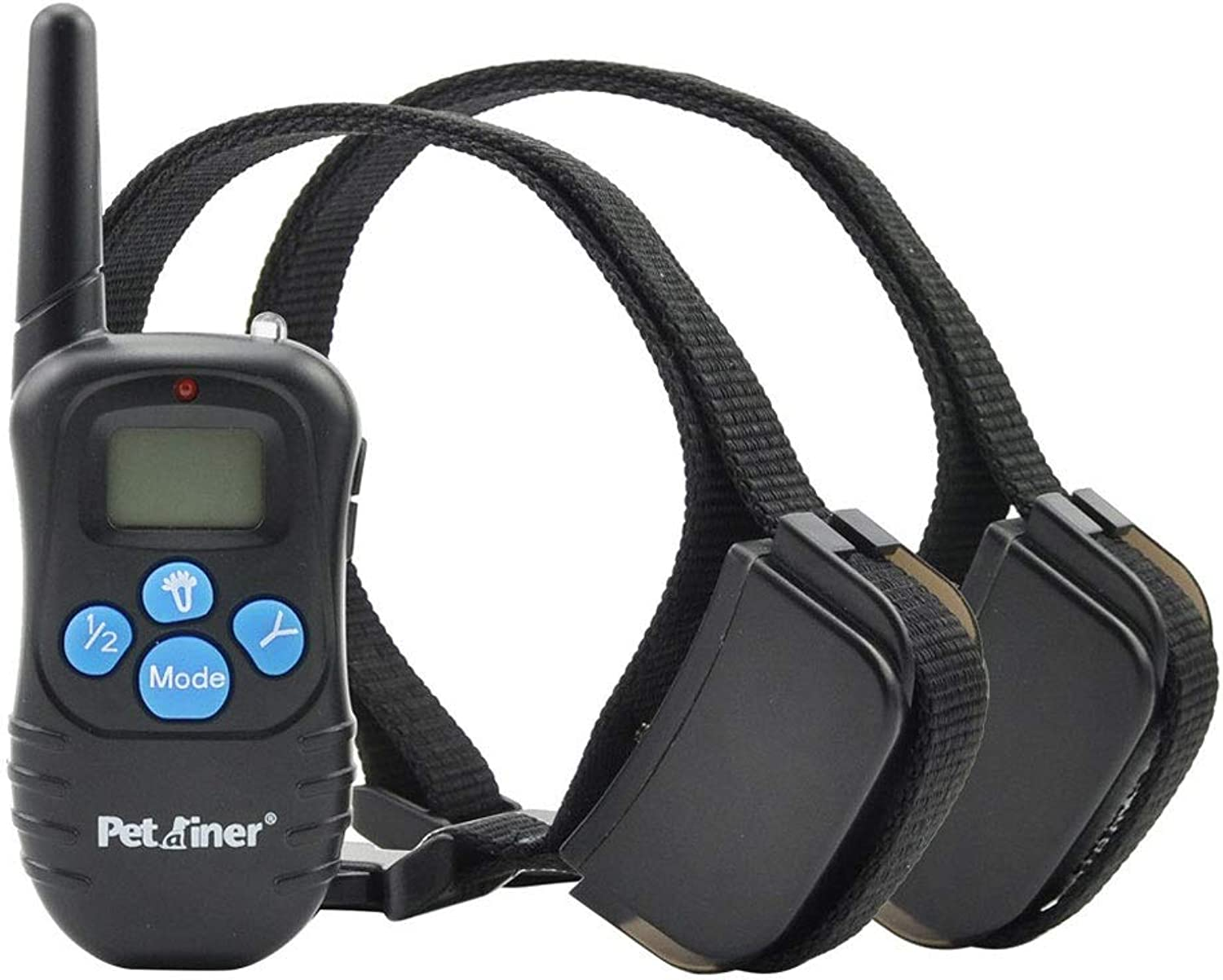 Remote Pet Dog Training Collar LCD,330 Yards Rechargeable Vibration Sound Electric,Waterproof AntiBark,Corresponding to Two Dogs. (color   Black)