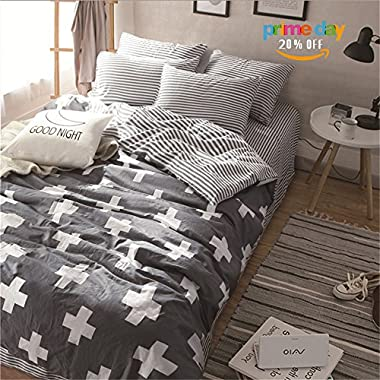 Vougemarket 3 Piece Duvet Cover Set (Queen,King) Duvet Cover with 2 Pillow Shams - Hotel Quality 100% Cotton - Luxurious, Comfortable, Breathable, Soft and Extremely Durable (Queen, Style 3)