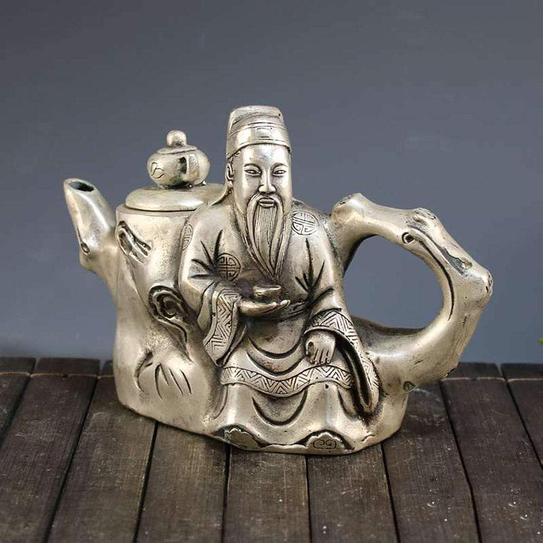 mode158 Artisanat en Laiton plaqué Argent pour théière théière décoration Li Baihu
