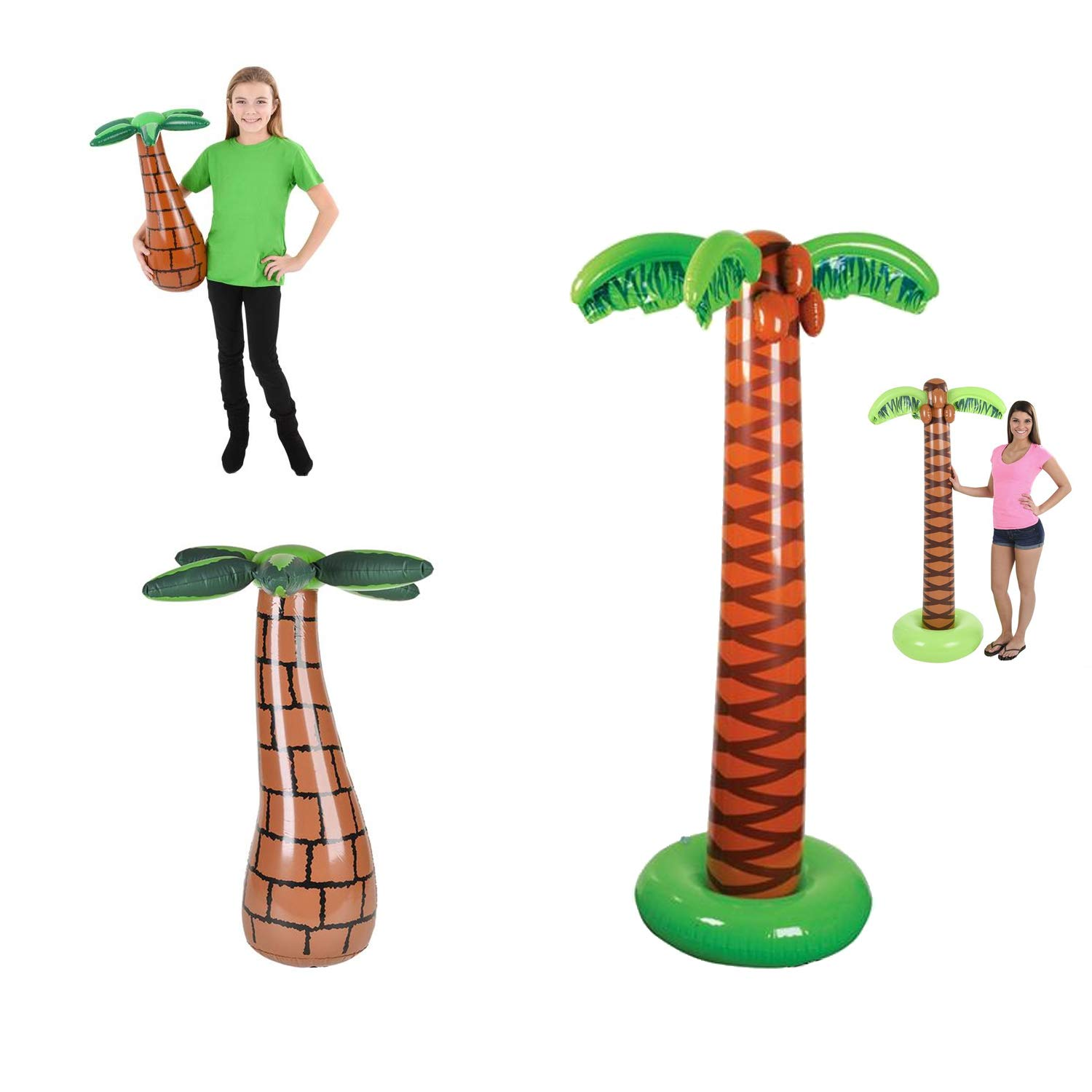 Favonir Inflatable Palm Tree 2-Pack - Blow Up Palm Trees Set for Luau Party Decor - 27-Inch & 66-Inch Inflatable Decorations for Hawaiian Tiki Party, Beach Party, Tropical Hawaii Theme Backyard Party