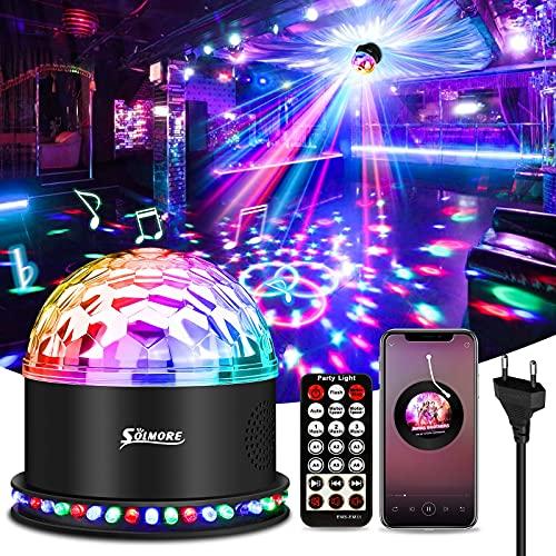 LED Discokugel Bluetooth, SOLMORE LED Lichteffekte Partylicht Musik Player RGB Disco Magic Ball mit Fernbedienung Sprachaktiviertes 6 Lichtmodi für Party Zimmer Weihnachten