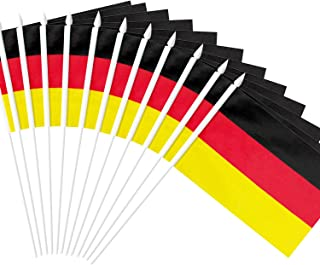 Anley Germany Stick Flag, German 5x8 inch Handheld Mini Flag with 12