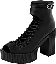 T.U.K. Shoes Women's Black Gladiator Yuni Heeled Boots