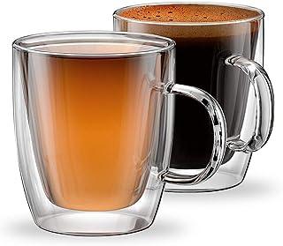 مجموعة من كوبين (2) زجاجيين معزولين بطبقة مزدوجة للقهوة من الاسبرسو واللاتيه والكابتشينو، كوبين من الزجاج الحراري من مجموع...