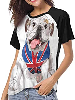 Shirts,English Bulldog,Dog in a Hat,Print Short Sleeve Baseball Ladies Tee