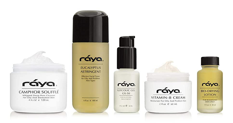 ロードハウス振りかけるできないRaya オイリースキンケアキット(K-3)|オイリー肌のためのベストセラー製品の5点セット|クレンザー、トナー、モイスチャライザー、スポット治療、および血清が含まれています 1 fl-oz to 6 fl-oz 各