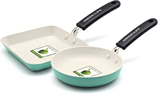 GreenLife Mini Square Grill Pan and Mini Round Egg Pan Set, Turquoise - CW002438-002