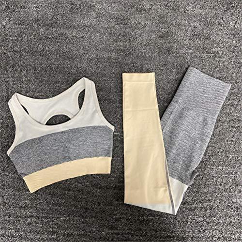 Hbao Stitching sexy Frauen Yoga Kleidung Anzug Stretch-Gymnastik Sportbekleidung Fitness Kleidung Fitness Sportbekleidung BH Hose Sportanzug (Color : Yellow, Size : Small)