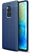DEVMO Phone Case Compatible with Huawei Mate 20 X TPU Bionic Leather Gel Rubber Full Body Protection Shockproof Cover Case Drop Protection Blue