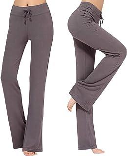 CMTOP Pantalones de Yoga Pilates para Mujer Algodon Alta Cintura Elásticos pantalón de Campana con cordón Casuales Chandal...