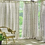 Elrene Home Fashions Verena Floral Sheer Indoor/Outdoor UV Protectant Adhesive Loop Fastener Tab Top Window Curtain Panel for Patio, Pergola, Porch, Deck, Lanai, and Cabana, 52'x84' (1, Sand