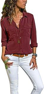 Camisas Vaquera Mujer Blusa con Botones Camisetas Manga Larga Sexy Tops Color Sólido Cuello en V Low Cut Sexy Camisetas y ...