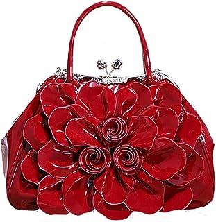 Trendy Lady Fashion Rhinestone Handbag Patent Leather Stereotypes Bag OL Commuter Flower Bag Bride Handbag Zgywmz (Color : Red, Size : 36 * 14 * 25cm)