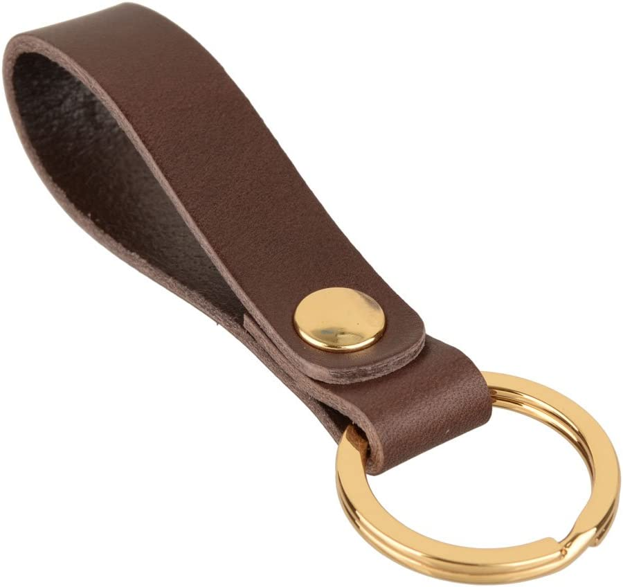 Richbud Classic Leather Gold Key Chain Ring Fob Valet (Coffee Brown)