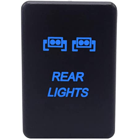 LED Light Push Button Switch with Connector Wire Blue Backlit Kit Compatible with Toyota Tundra Tacoma 4Runner-Rear Light Symbol