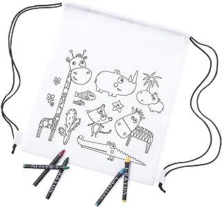 MIRVEN - Lote 20 Mochilas Infantiles Animales para Colorear. Cada Una Incluye 5 Ceras de Colores Fiestas de Cumpleaños