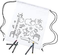 Lote 20 Mochilas Infantiles Animales para Colorear. Cada Una Incluye 5 Ceras de Colores. Ideal para Regalos de Fiestas de Cumpleaños