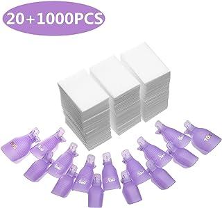 INFILILA Nail Polish Remover Clips Set 20+1000PCS Nail Clips Caps - 20PCS Nail Soak Off Clips For Finger And Toe,1000PCS Lintfree Nail Remover Wipes Wraps For UV Gel Acrylic Nail Polish Removal