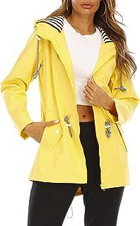 Cysincos Chubasquero para mujer, cortavientos, impermeable, con capucha, chaqueta de entretiempo y chubasquero ligero, par...