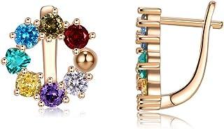 Rose Gold Plated Flower Huggie Earrings Stud Small Hoop Earrings for Women Girls Fashion Gift