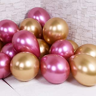 Party Balloons 12inch 50pcs Latex Metallic Chrome Balloon in Rose Gold Thicken Balloon for Wedding Graduation Birthday Baby Shower Christmas Valentine's Day Party Supplies(Rose and Gold)